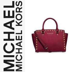 Selma Studded Medium Cherry Leather Messenger Bag